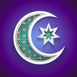 Islamic background for ramadan - 3d crescent moon and star icon. With arabic style pattern - great graphic for Ramadan backgrounds design - vector illustration