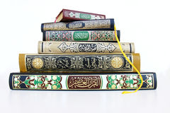 Islamic Books. Six islamic books on top of each other isolated on white background Royalty Free Stock Photos