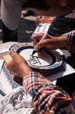 Islamic calligraphy in Istanbul, Turkey. Man doing Islamic calligraphy in Istanbul, Turkey Royalty Free Stock Photography