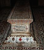 A grave of the Mughal king Jahangir in the Lahore, Pakistan. Islamic calligraphy on the in the Tomb of Jahangir stock photography
