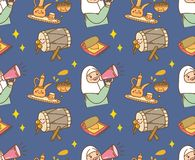 Islamic cartoon doodle background for Eid al fitr or ramadan celebration royalty free illustration