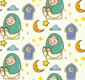 Islamic cartoon doodle background for Eid al fitr or ramadan celebration stock illustration