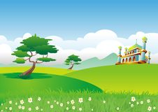 Islamic cartoon landscape with mosque 2015 Stock Photo