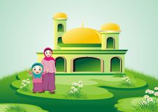 Islamic cartoon - mom and kid with mosque Stock Photo