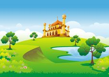 Islamic cartoon with mosque on the hill Royalty Free Stock Image