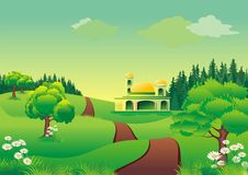 Islamic cartoon - mosque on the hill Stock Images