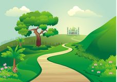 Islamic cartoon with mosque on the hill Stock Image