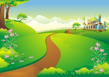 Islamic cartoon with mosque on hill Stock Photography