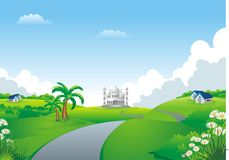 Islamic cartoon with mosque on the hill Stock Images