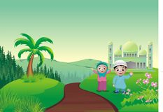 Islamic cartoon - mosque on the hill Royalty Free Stock Photography