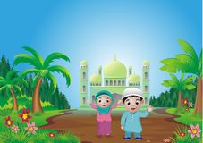 Islamic cartoon - mosque on the hill Royalty Free Stock Image