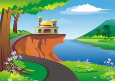 Islamic cartoon with mosque on ountain side Royalty Free Stock Images
