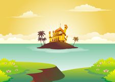 Islamic cartoon with mosque on small island Stock Images