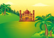Islamic cartoon with mosque on sunset Stock Photos