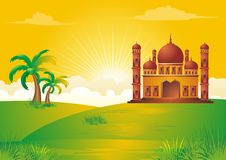 Islamic cartoon with mosque on sunset Royalty Free Stock Photography