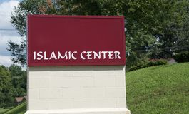 Islamic Center Sign. Islamic Worship Center sign, where people of the Muslim faith go to worship royalty free stock photos