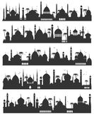 Islamic city skyline flat sketch. Islamic city skyline sketch. Architecture silhouette, history and culture urban black image. Vector flat style illustration on vector illustration