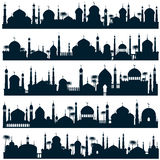 Islamic city skylines with mosque and minaret vector silhouettes arabic architecture Royalty Free Stock Photography