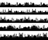 Islamic cityscape silhouettes Stock Image