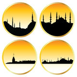 Islamic cityscapes. Four islamic cityscapes in circles Stock Photography