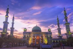 Islamic concept: beautiful big mosque royalty free stock photography