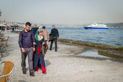 Islamic couple near Bosphorus in Istanbul, Turkey Stock Photo