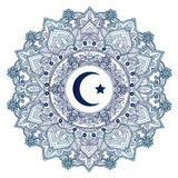 Islamic crescent moon in ornate background. Stock Photos