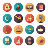 Islamic culture icons set Royalty Free Stock Photo