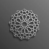 Islamic 3d on dark mandala round ornament background architectural muslim texture design . Can be used for brochures Stock Photography