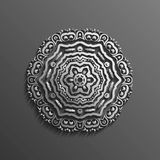Islamic 3d on dark mandala round ornament background architectural muslim texture design . Can be used for brochures Stock Photos