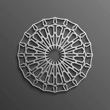 Islamic 3d on dark mandala round ornament background architectural muslim texture design . Can be used for brochures Royalty Free Stock Photos