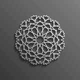 Islamic 3d on dark mandala round ornament background architectural muslim texture design . Can be used for brochures Royalty Free Stock Images