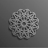 Islamic 3d on dark mandala round ornament background architectural muslim texture design . Can be used for brochures. Invitations Stock Photo