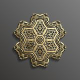 Islamic 3d gold on dark mandala round ornament background architectural muslim texture design . Can be used for. Brochures invitations,persian Stock Photos