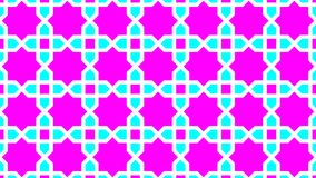 Islamic decoration,consist of squares around stars are eight ribs,beautiful colors are magenta,cyan and white colors,and attractiv. Background a beautiful Royalty Free Stock Photo