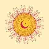Islamic decorative background with moon and star. Illustration Royalty Free Stock Images
