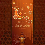 Islamic design for Eid al-Adha. Sacrifice Festival. Greeting card with a moon, stars, mosque and arabic lamp. Islamic design for Eid al-Adha - Festival of the Stock Photo