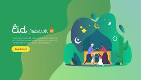 islamic design illustration concept for Happy eid mubarak or ramadan greeting with people character. template for web landing page royalty free illustration