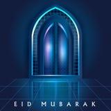 Islamic design mosque door and window for Eid Mubarak Happy Eid celebration background Stock Photography