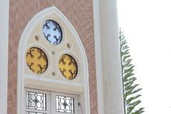 Art beautiful door color Islamic design windows mirror and green branch of tree Royalty Free Stock Image