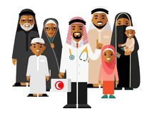 Family muslim arabic doctor concept with young practitioner and happy patients in flat style isolated on background. Islamic doctor standing together with Stock Images