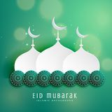 Islamic eid festival design with mosque and decoration. Vector Royalty Free Stock Photo