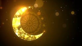 Islamic Eid Mubarak Ramadan background with crescent moon and bokeh loop