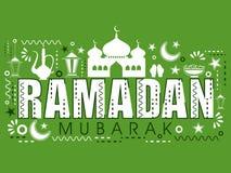 Islamic elements set for Ramadan celebration. Set of various creative Islamic elements with stylish text Ramadan Mubarak on green background Royalty Free Stock Image