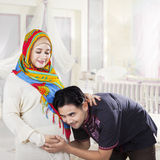 Islamic family waiting childbirth Royalty Free Stock Image