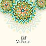 Islamic festival, Eid celebration greeting card. Beautiful floral design decorated greeting card for Muslim community festival, Eid celebration Stock Image