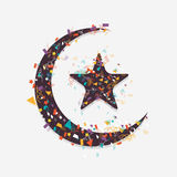 Islamic festival, Eid Mubarak celebration with moon and star. Colorful ribbons decorated crescent moon with star on grey background for Muslim community Stock Image