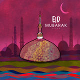 Islamic festival, Eid Mubarak celebration with Mosque. Islamic famous festival, Eid Mubarak celebration with creative Mosque in night view background Stock Images