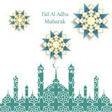 Islamic Festival of Sacrifice, Eid Al Adha Mubarak Greeting Card. Vector background.  Royalty Free Stock Photo