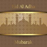 Islamic Festival of Sacrifice, Eid Al Adha Mubarak Greeting Card. Vector background.  Royalty Free Stock Image